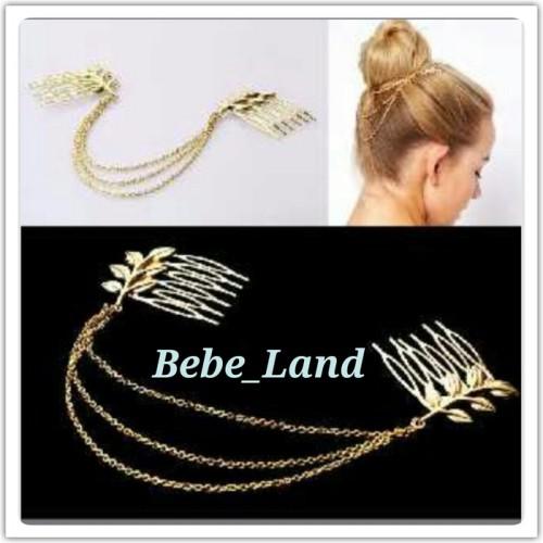 Foto Produk Aksesoris import double comb hair cuff greecian leaf dari BebeLand