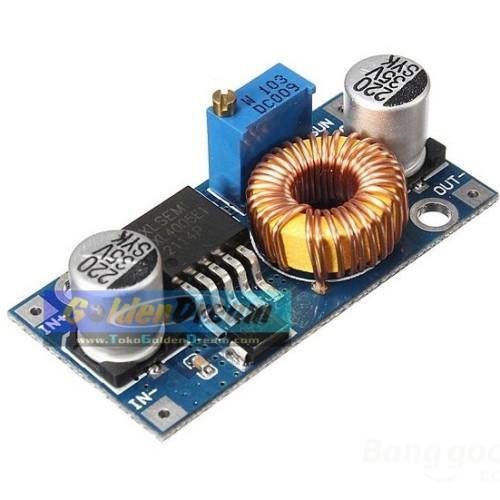 Foto Produk XL4005 adjustable 5A DC-DC step down module ultra compact input 4-35V output 1.25-32V buck better than LM2596 dari Golden Dream