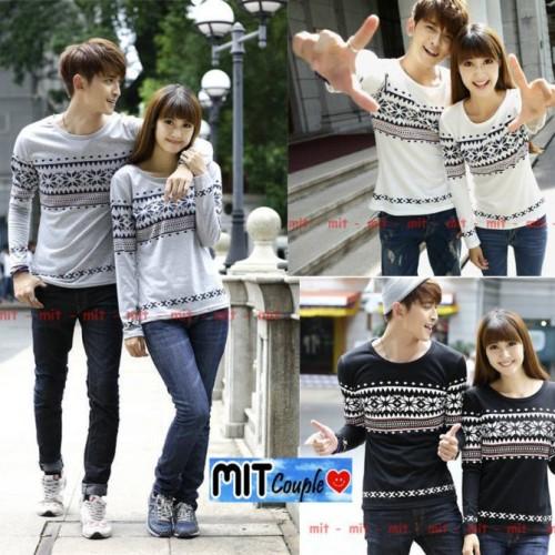 Foto Produk Kaos Couple Lengan Panjang / Baju Pasangan motif abu putih hitam dari Grosir Baju Couple :)