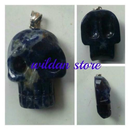 Foto Produk liontin ukiran tengkorak batu asli natural lapis lazuli dari wildan-store