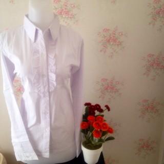 Foto Produk kemeja blus putih wanita kantor polos renda dari Orlenachang