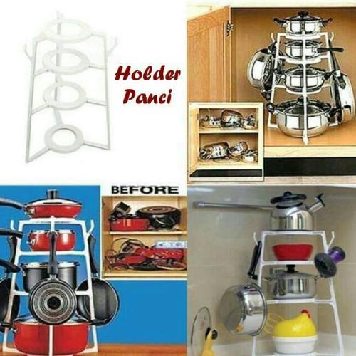 Foto Produk rak panci holder organizer cookware teflon wajan 4 susun lid dapur dari anabelle