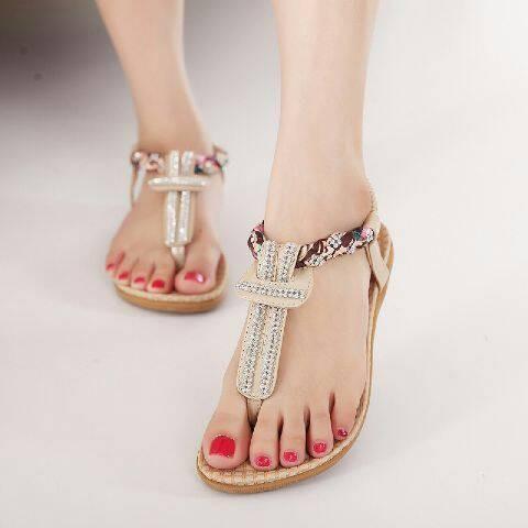 Foto Produk NO. 37 Sandal Flat Wanita Krem LM 01 dari eleza