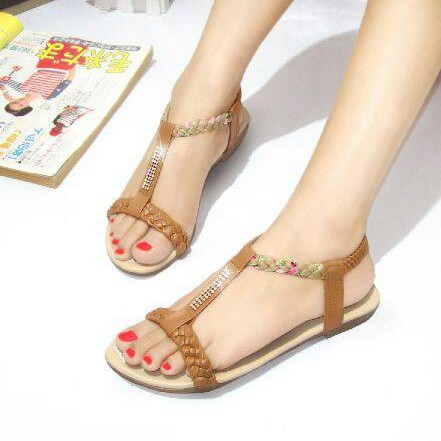 Foto Produk NO. 40 Sandal Flat Wanita Tan LM 02 dari eleza