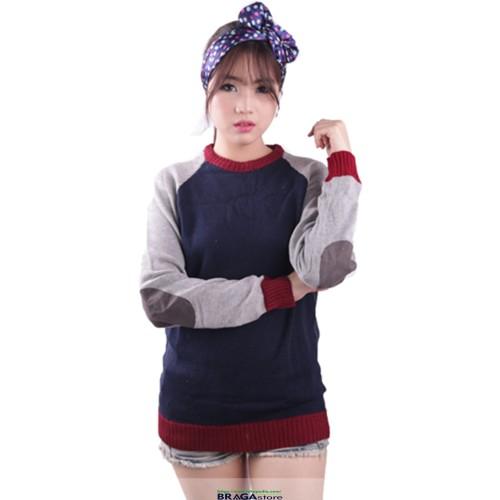 Foto Produk Sweater Rajut Zara Elbow Navy Woman dari Braga Fashion