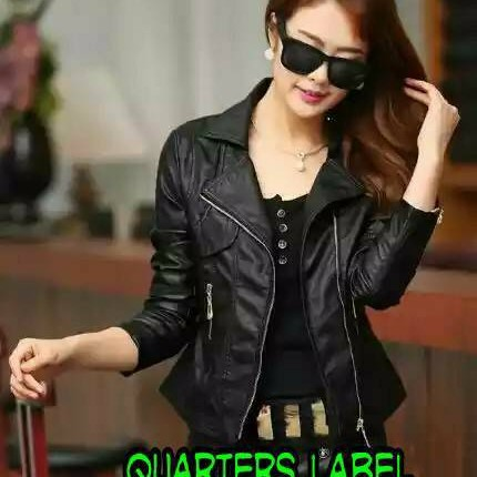 Foto Produk jaket semi kulit wanita style koreA - Hitam, S dari jacket semi kulit