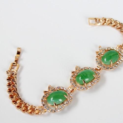 Foto Produk Gelang Batu wanita Giok Hijau Xuping Gold Lapis Emas dari Melintu Shop