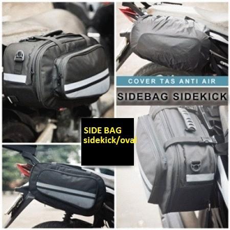 Foto Produk Side Bag Oval / Sidebag motor / tas samping motor - HITAM - ABU ABU dari herman-shop