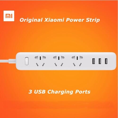Foto Produk Stop kontak / Colokan Listrik Xiaomi Mi Smart power + 3 USB Port 2A - Hitam dari lbagstore