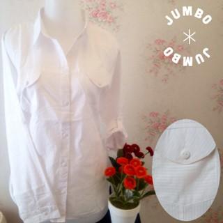Foto Produk Kemeja blus putih wanita kantor kantong/saku 2 full motif salur JUMBO dari Orlenachang