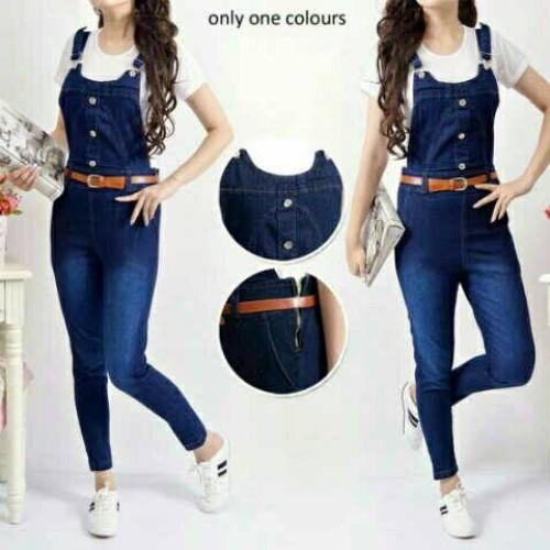Foto Produk Jumpsuit Overall Jeans Navy Set dari my trend fashion