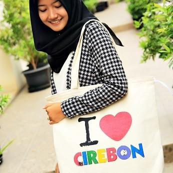 Foto Produk Premium Canvas Tote Bag - BC0318 I Love Cirebon dari KamehaShop.com