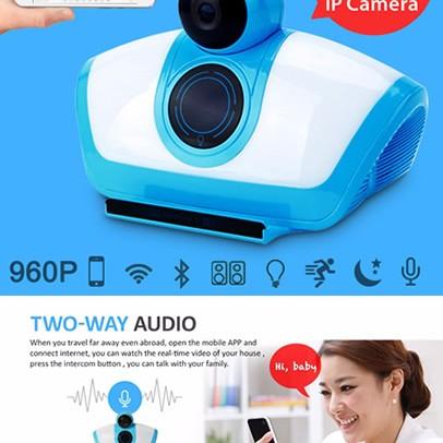 Foto Produk 960P CCTV Wireless IP Camera With Bluetooth Wireless Speaker dari Elenna-Store