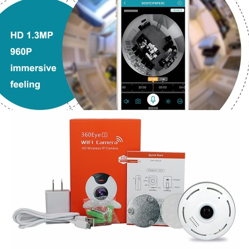 Foto Produk 1.3mp fish eye lens 960P, CCTV wireless panoramic wifi IP Camera dari Elenna-Store