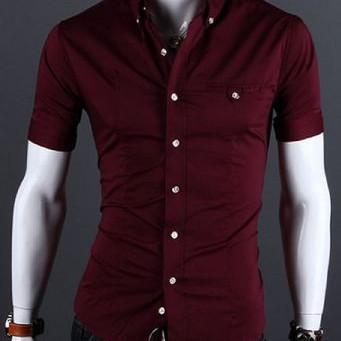 Foto Produk Keneja Pria Keren Lengan Pendek Super Slimfit Barry Red Maroon - Merah dari Kemeja Slim Fit