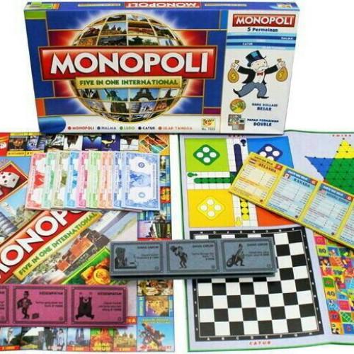 Foto Produk Mainan Keluarga Monopoly 5 in 1 Monopoli Halma Ular Tangga Ludo Catur dari Toko DnD