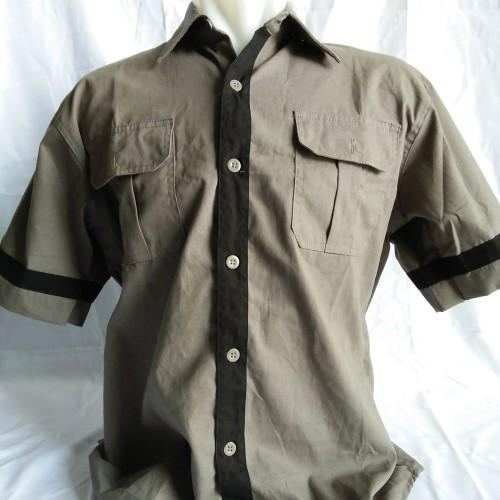 Foto Produk kemeja polos dark grey lengan pendek baby canvas dari dn_17 army shop