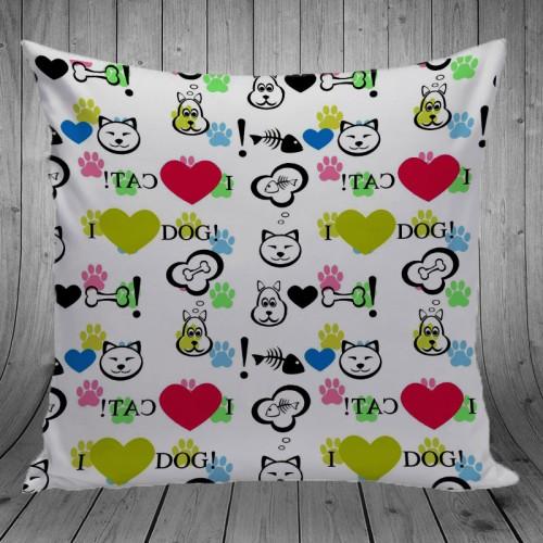 Foto Produk Bantal Dekorasi Sofa / Mobil - Love Cat And Dog dari Adelgio