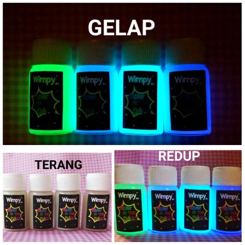 Foto Produk cat glow in the dark paint 10ml cat fosfor varnish gloss bubuk fosfor - Green dari Wimpy Clay