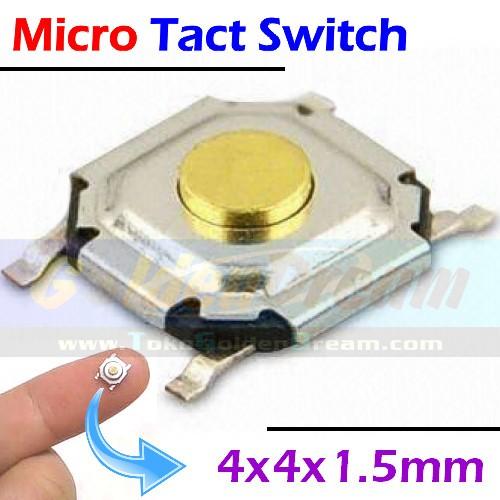 Foto Produk Micro Tact Switch 4x4x1.5 mm Saklar Micro On Off Momentary SMD Kecil dari VISITEK