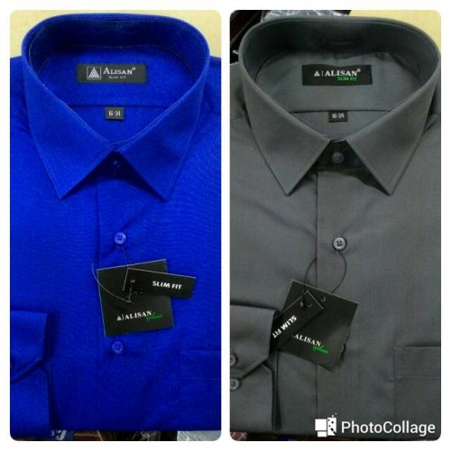 Foto Produk Kemeja Pria Alisan Panjang Slimfit Abu Tua Abu 6& Biru Elektrik B6 - Abu-abu, L dari Mega Hero Shirts