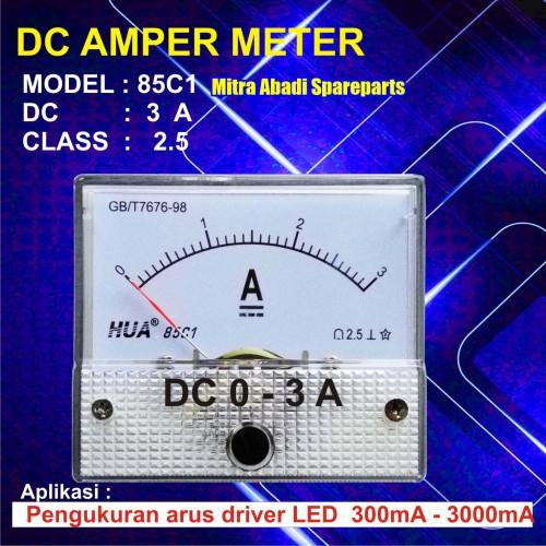 Foto Produk Amperemeter Analog DC 3A / 3 Ampere / 3000 mA dari Mitra Abadi Spareparts