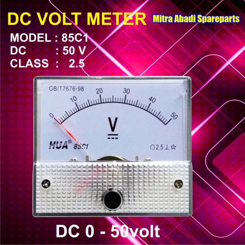 Foto Produk Voltmeter DC Analog 0V-50V / 0-50 Volt dari Mitra Abadi Spareparts