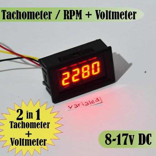 Foto Produk 2 in 1 Tachometer RPM + Voltmeter Digital DC 8-17V Motor Mobil LED RED dari variaLED