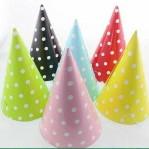 Foto Produk Topi Ulang Tahun Motif Polkadot dari Reaw Store