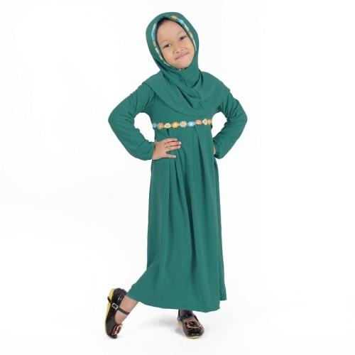 Foto Produk Baju Muslim Gamis Anak Perempuan Hijau Toska, lucu imut dari Grone