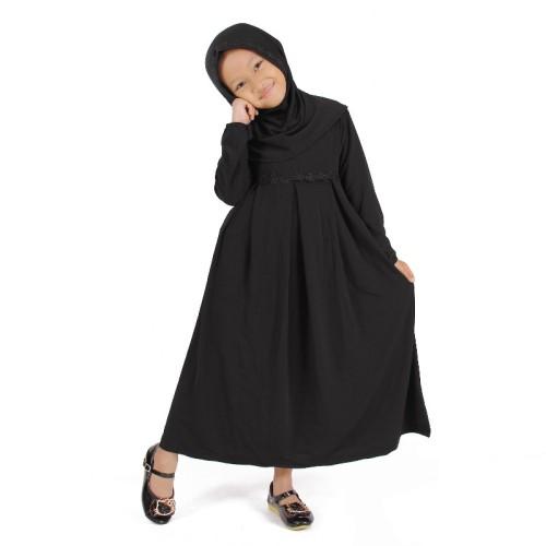 Foto Produk Baju Muslim Gamis Anak Perempuan Warna Hitam Lucu Simple dari Grone