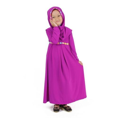 Foto Produk Baju Muslim Gamis Anak Perempuan Ungu Magenta Lucu Simple Murah dari Grone