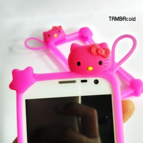 Foto Produk Bumper HP 4-7 inch Ring Hello Kitty Pink Tua / Merah Muda Tua dari TAMBAcoid