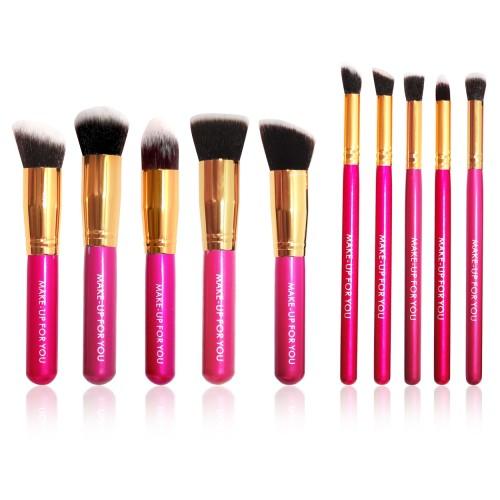 Foto Produk Brush Set Makeup for you - The Basic 10 Ruby Pink with Gold Bezel dari twindshop