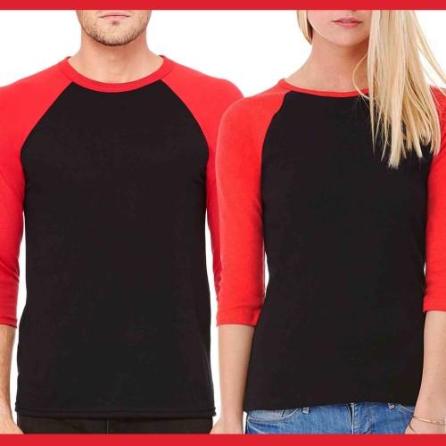 Foto Produk Kaos Couple Raglan Polos Red Black dari Grosir kaos couple