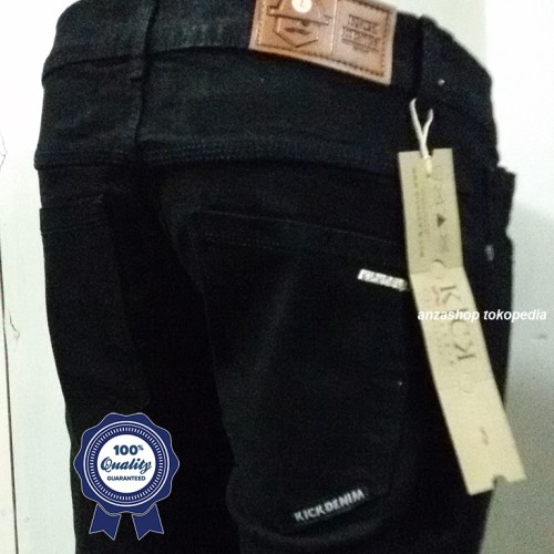 Foto Produk Celana Jeans Branded Kick Bandung Pensil/Skinny/Streach Hitam CO dari Anza Shop