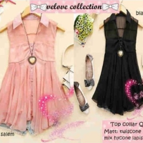 Foto Produk Atasan Top Collar Queeny VELOVE COLLECTION twiscone fit M OBRAL MURAH dari Shop With Mali