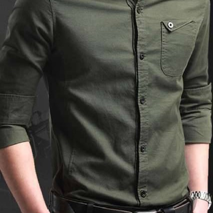 Foto Produk Pakaian Pria Kemeja Slim Fit Keren Warna Hijau Army dari Kemeja Slim Fit