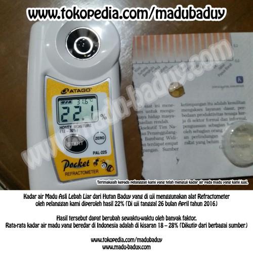 Foto Produk KADAR AIR MADU ASLI LEBAH LIAR HUTAN BADUY. WWW.MADU-BADUY.COM dari Madu Baduy
