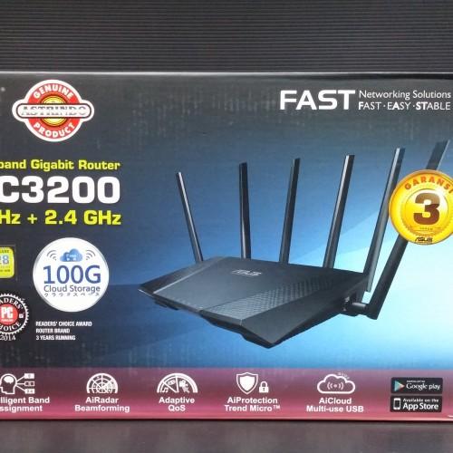 Foto Produk ASUS RT-AC3200 Tri-Band Wireless-AC3200 Gigabit Router GARANSi 3Tahun dari Murah Meriah Mewah
