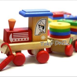 Foto Produk Mainan Edukatif / Edukasi Anak - Balok Kayu - Kereta / Train Geo dari Toko DnD