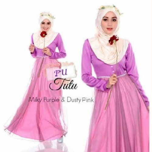 Foto Produk 2in1 purple ballerina long dress + pashmina dari nandee