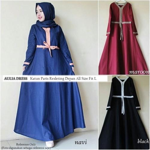 Foto Produk Baju Dress Muslim Alaia Gamis Maxi Syari Katun Paris Navy Black Maroon dari Aira Muslimah Fashion