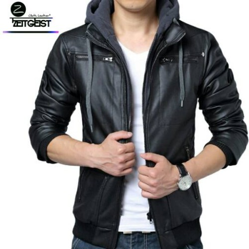 Foto Produk Hoodie Jaket Pria Kulit Sintetis (ST-43) - Hitam, S dari Zeitgeist Leather Store