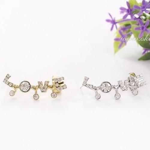 Foto Produk EE0210 - anting korea model love kristal memanjang jepit dan tindik - Gold dari Serbu Lima Ribu