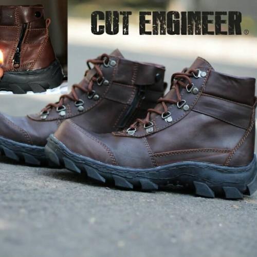 Foto Produk sepatu Safety boots KULIT ASLI cut engineer hitam dari Cut Engineer