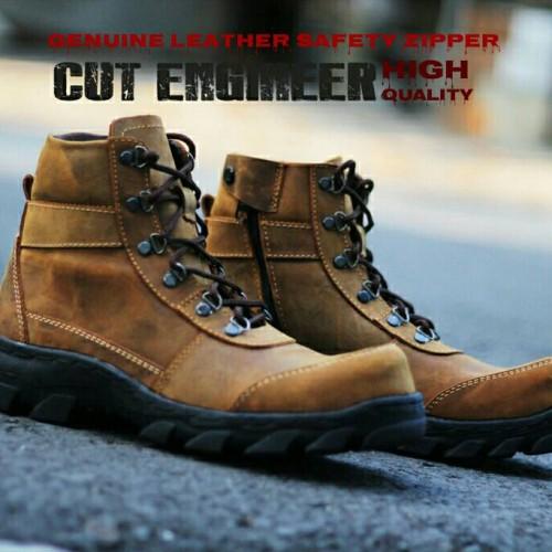 Foto Produk sepatu kulit asli safety zipper branded cut engineer dari Cut Engineer