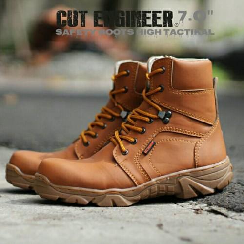 Foto Produk Sepatu Pria Safety Boots High Tactikal Cut Engineer Brown dari Cut Engineer