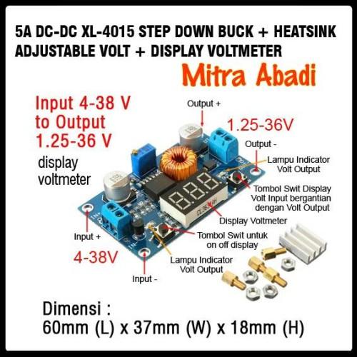 Foto Produk Step DOWN Buck 1,25-36V DC-DC Adj. Volt and Display Voltmeter+Heatsink dari Toko Mitra Abadi