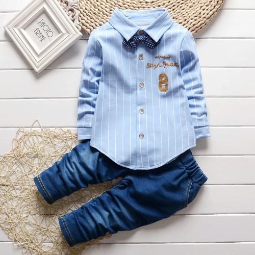 Foto Produk Setelan Kemeja + Soft jeans || Biru - Size S dari Felicia_Shop